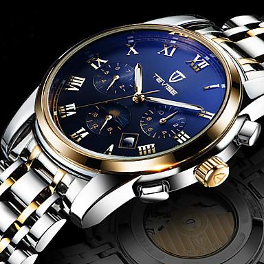 baratos Relógios Homem-Homens Relógio de Pulso Aço Inoxidável Branco / Dourada Impermeável Calendário Criativo Analógico Amuleto Luxo Clássico Casual Rígida - Branco Preto Azul