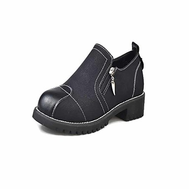 Women's Shoes PU Fall Formal Shoes Heels Walking Shoes Chunky Heel Round Toe Zipper for Casual Dress Party & Evening Black Gray Green