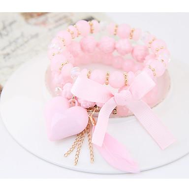 Women's Stack Charm Bracelet - Resin Heart, Bowknot Bohemian, Fashion, Boho Bracelet Rainbow / Pink / Light Blue For Party
