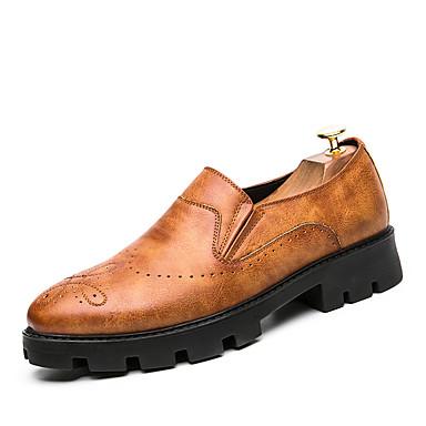 Herrn Schuhe Leder PU Frühling Herbst Komfort formale Schuhe Outdoor für Normal Party & Festivität Büro & Karriere Schwarz Dunkelbraun