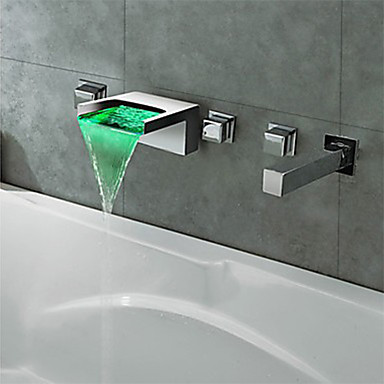 Bathtub Faucet - Contemporary Modern Style LED Chrome Widespread Brass Valve