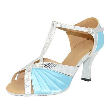 Mulheres Sapatos de Dança Latina Seda Sandália / Têni Presilha Salto Agulha Personalizável Sapatos de Dança Azul / Couro / Profissional