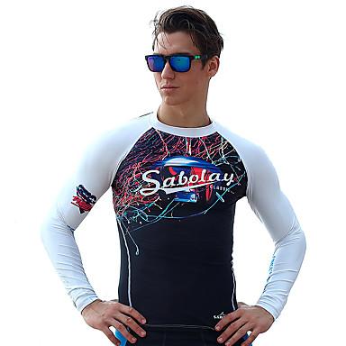 Herre Båtliv Ultraviolet Motstandsdyktig Elastan Terylene Dykkerdrakt Langermet Ikke-Klø Klær Topper-Svømming Strand Surfing Vannsport