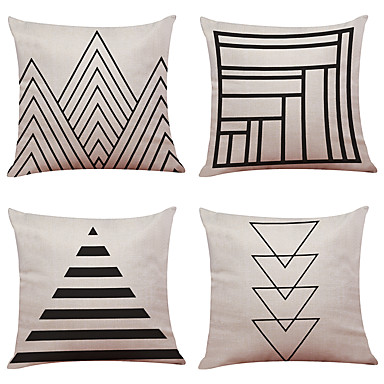 4 pcs Linen Natural/Organic Pillow Case Pillow Cover, Textured Beach Style Traditional/Classic Office/Business Modern/Contemporary
