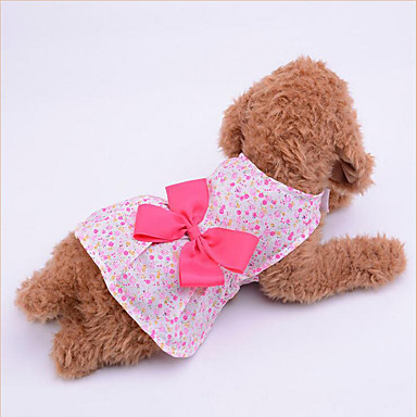 Dog Dress Dog Clothes Bowknot Purple / Blue / Pink Fabric Costume For Pets Summer Women's Casual / Daily