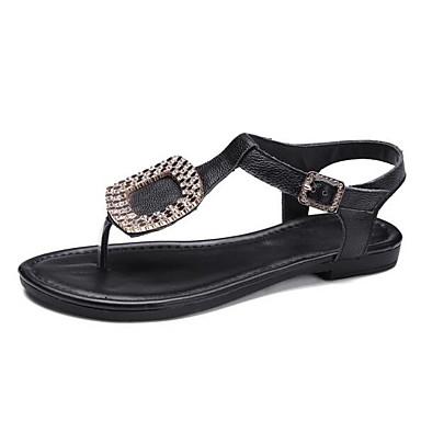 Women's Sandal Comfort Summer Cowhide Casual White Black Flat
