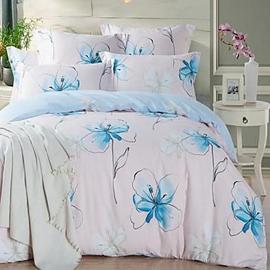 Floral/Botanical 4 Piece Cotton Cotton 1pc Duvet Cover 2pcs Shams 1pc Flat Sheet