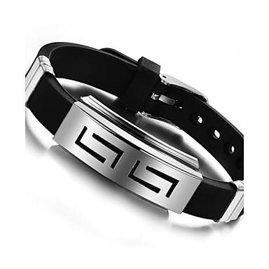voordelige Herensieraden-Dames Bangles Dames Modieus silica Gel Armband sieraden Zwart Voor Feest Verjaardag Feest / Uitgaan Lahja Avond Feest / Roestvast staal