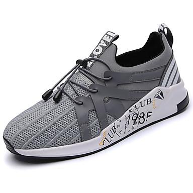 Men's Sneakers Comfort Spring Fall PU Outdoor Black Gray Blue Flat