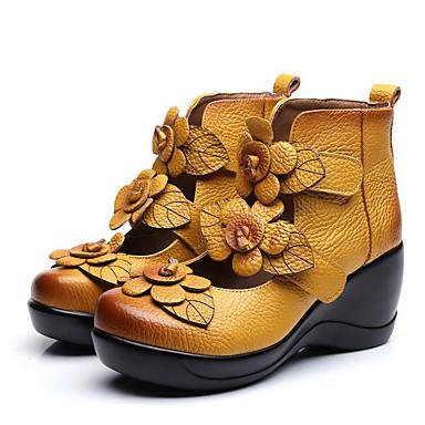Naiset Kengät Nappanahka Nahka Kevät Comfort Sandaalit Käyttötarkoitus Kausaliteetti Musta Keltainen Punainen