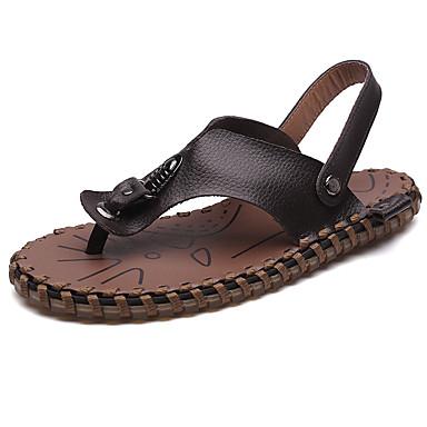 Miesten kengät Nappanahka Kesä Comfort Sandaalit varten Kausaliteetti Valkoinen Musta Ruskea