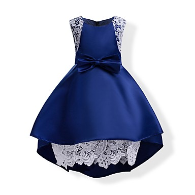 Girl's Solid Dress, Cotton Polyester Summer Sleeveless Bow Blue Blushing Pink