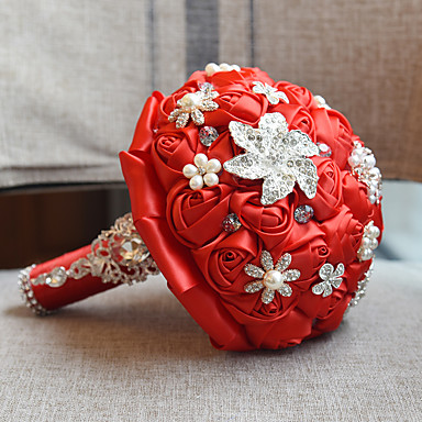 Bouquets de Noiva Buquês Casamento Miçangas / Renda / Seda 10.63