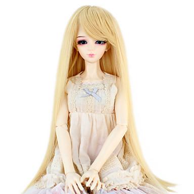 Synteettiset hiukset Peruukit Suora Doll Wig Tummanvaalea