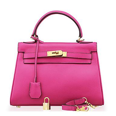 Women Shoulder Bag Cowhide All Seasons Casual Outdoor Shell Clasp Lock Blushing Pink Gray Fuchsia