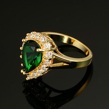 Naisten Sormus Synteettinen Emerald Vintage Tyylikäs Cubic Zirkonia 18K kulta Heart Korut Häät Juhlat/Ilta Kihlaus Seremonia