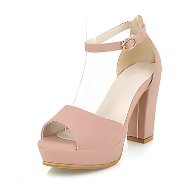 Women's Shoes Synthetic Microfiber PU PU Spring Summer Basic Pump Heels Chunky Heel Peep Toe Round Toe Buckle For Wedding Dress Party &