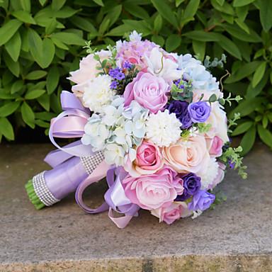 Wedding Flowers Bouquets Wedding Bead Lace Silk Organza Satin 10.24