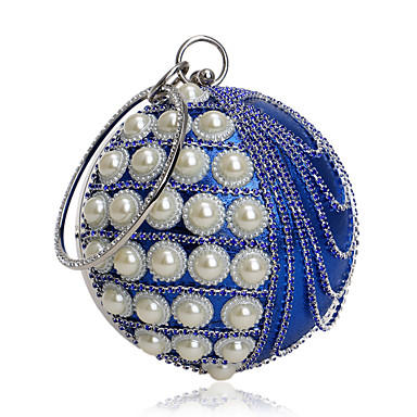 Women Bags Polyester Evening Bag Rhinestone Pearl Detailing Bead Tassel Chain for Event/Party All Seasons Blue Gold Black Silver Red