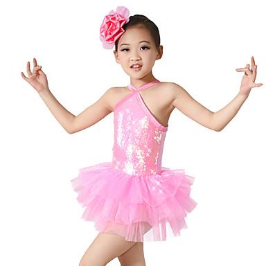 Balletschuhe Kleider Leistung Polyester / Elasthan / Pailletten Paillette / Blume / Überkreuzte Rüschen Ärmellos Normal Kleid / / Ballett