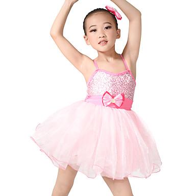 Çocuk Dans Kıyafetleri Elbiseler / Bale Eteği Çocuklar için Performans Süs Pullu / Tül / Likra Fiyonk(lar) / Danteller Kolsuz Yüksek