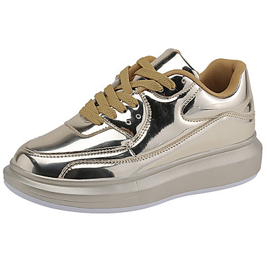 Women's Shoes PU Winter Fall Comfort Sneakers Flat Heel Round Toe Lace-up for Casual Outdoor Gold Silver