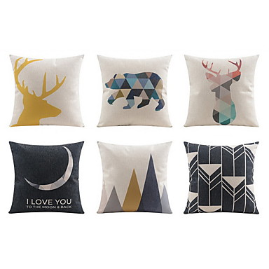 6 pcs Linen Pillow case / Pillow Cover / Bed Pillow, Geometric / Animal / Plain Casual / Daily / Modern / Contemporary / Office / Business