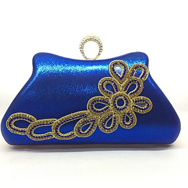 Women Bags All Seasons Metal Evening Bag for Event/Party Blue Gold Silver