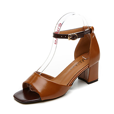 Women's Sandals Comfort Light Soles Summer Fall Synthetic Microfiber PU Casual Office & Career Chunky Heel Block Heel Beige Brown 1in-1