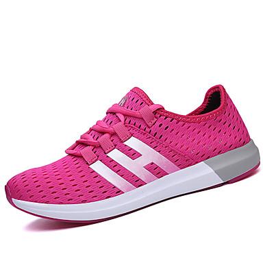 Mulheres Sapatos Malha Respirável Couro Ecológico Primavera Outono Conforto Solados com Luzes Tênis Sem Salto Ponta Redonda Cadarço para