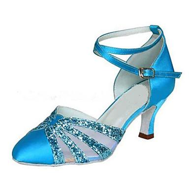 Naisten Moderni Tekonahka Silkki Sandaalit Lenkkarit Ammattilainen Soljilla Stilettikorko Sininen Mahdollisuus räätälöidä