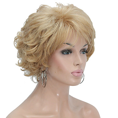 Synthetic Wig Curly Blonde Layered Haircut Synthetic Hair Blonde Wig Women's Short Capless