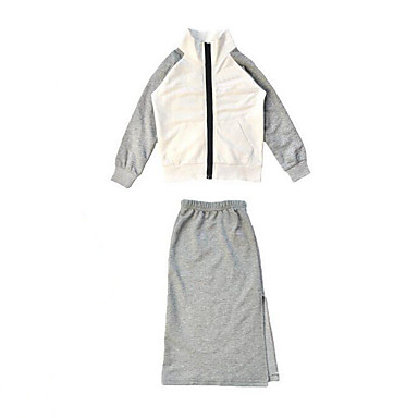 Girls' Patchwork Clothing Set, Rayon Spring Fall Long Sleeves White