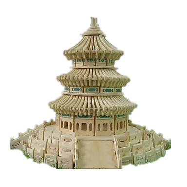 3D Puzzles Jigsaw Puzzle Wood Model Model Building Kit Famous buildings Chinese Architecture Architecture Temple of Heaven DIY Wooden Wood