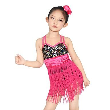 Danse latine Tenue Femme Enfant Spectacle Chinlon Elasthanne Polyester Paillété Plissé 4 Pièces Sans manche Taille moyenneRobe Bracelets
