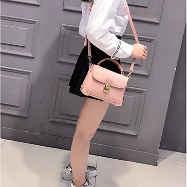 Women Shoulder Bag Cowhide All Seasons Casual Outdoor Square Clasp Lock Black Blushing Pink