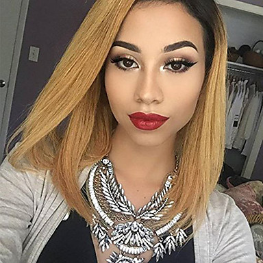 Remy Human Hair Lace Front Wig Straight 130% Density 100% Hand Tied African American Wig Natural Hairline Ombre Hair Short Medium Women's