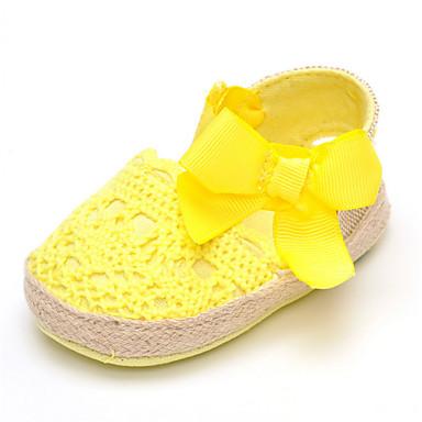 baratos Sapatos de Criança-Para Meninas Tecido Rasos Crianças (0-9m) Conforto Laço / Cadarço de Borracha Amarelo / Fúcsia / Rosa claro Verão / Outono / Casamento / Festas & Noite / Casamento
