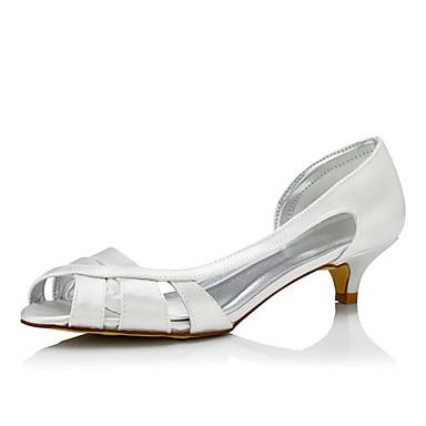 Mulheres Sapatos Seda Primavera Outono Conforto Sapatos De Casamento Salto Baixo Ponta Redonda Dedo Fechado para Casamento Social Festas