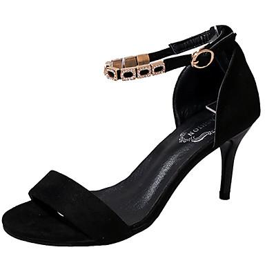 Mulheres Sapatos Borracha Verão Conforto Sandálias Caminhada Salto Agulha Peep Toe Presilha para Ao ar livre Preto Azul