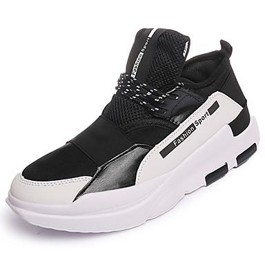 Homens sapatos Couro Ecológico Primavera Outono Solados com Luzes Conforto Tênis Cadarço para Casual Ao ar livre Preto Vermelho Branco /