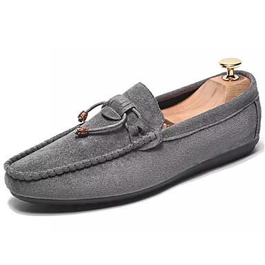 Homens sapatos Camurça Primavera Outono Mocassim Conforto Mocassins e Slip-Ons Caminhada para Casual Preto Cinzento