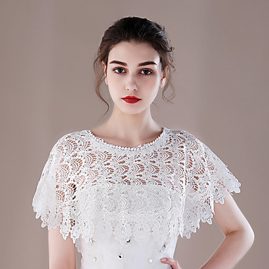 Lace Wedding Party / Evening Women's Wrap With Lace-trimmed Bottom Capelets