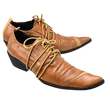 Men's Shoes Cowhide Spring Comfort Oxfords for Casual Black Orange Coffee
