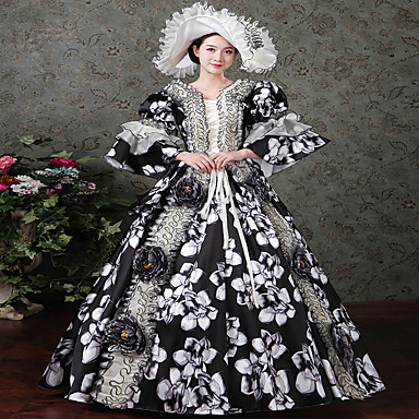 Rococo / Victorian Costume Women's Dress / Party Costume / Masquerade Vintage Cosplay Satin Long Sleeve Floor Length