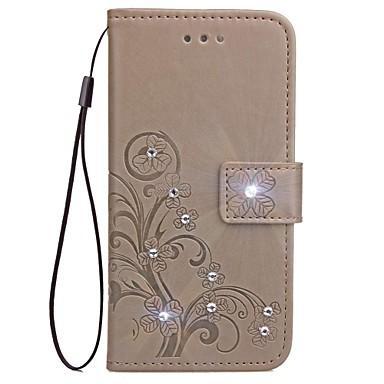 Capinha Para Apple iPhone X iPhone 8 Porta-Cartão Carteira Com Strass Com Suporte Flip Magnética Estampada Com Relevo Capa Proteção