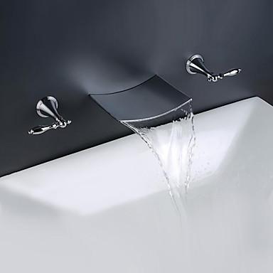 Torneira pia do banheiro - Cascata Cromado Difundido Duas alças de três furos