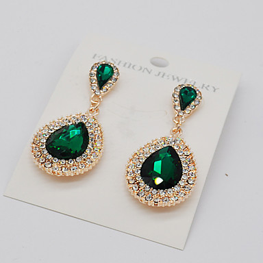 Women's Drop Earrings - Teardrop Fashion, Euramerican Green / Blue / Champagne For Party