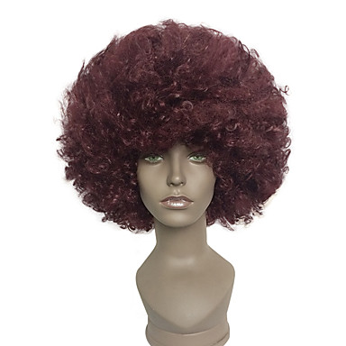 capless afro short wig kinky curly synthetic halloween clown costume wig Halloween