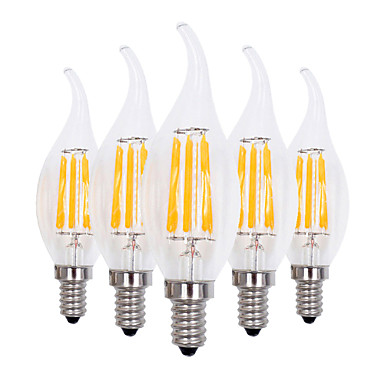 YWXLIGHT® 4W 300-400 lm E12 LED Candle Lights CA35 4 leds COB Dimmable Decorative Warm White AC 110-130V
